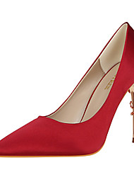 Women's Heels Comfort Leatherette Fall Winter Party & Evening Dress Stiletto Heel Champagne Burgundy Blushing Pink Blue Green 3in-3 3/4in