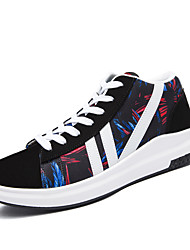 cheap -Men's Sneakers Comfort Spring Summer Fall Winter Leatherette Walking Shoes Casual Lace-up Flat Heel Black Ruby Blue Flat
