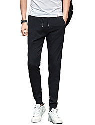 Men's Mid Rise strenchy Skinny Chinos PantsActive Simple Slim Solid Jacquard UK-807