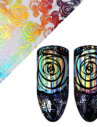 cheap -Holographic Rose Nail Foil 4*100cm Laser Starry Floral Pattern Transfer Sticker Manicure Nail Art Decoration