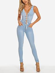 Da donna A vita alta Semplice Vintage Sensuale Per uscire Casual Serata Tuta,Skinny Tinta unita Jeans Primavera Estate