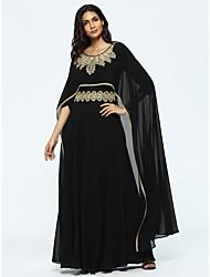Abaya Robe Femme Décontracté / Quotidien Imprimé Col Arrondi Maxi Manches Longues Polyester Automne Taille Haute Non Elastique Fin