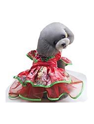 Недорогие -Собака Платья Одежда для собак Дышащий Новый год Цветочные/ботанический Лиловый Красный Розовый Костюм Для домашних животных