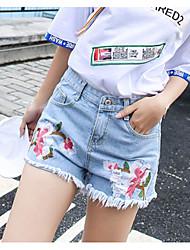 Women's Mid Rise Micro-elastic Jeans Shorts Pants,Simple Slim Floral