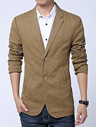 Men's Daily Simple Casual Spring Fall Blazer,Solid Shirt Collar Long Sleeve Regular Cotton Nylon