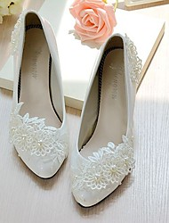 Women's Wedding Shoes Slingback Spring Fall Lace Leatherette Wedding Dress Party & Evening Office & Career Applique Imitation Pearl Flower