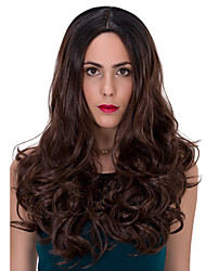 cheap -Synthetic Wig Wavy Brown Capless Natural Wigs Long Synthetic Hair
