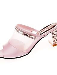 Women's Slippers & Flip-Flops Light Soles Spring PU Casual Crystal Block Heel Blushing Pink White 2in-2 3/4in