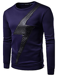 Men's Going out Casual/Daily Simple Sweatshirt Color Block Cut Out Round Neck Micro-elastic Cotton Long Sleeve Spring Fall
