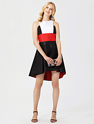 cheap -A-Line Jewel Neck Asymmetrical Taffeta Cocktail Party Dress with Sash / Ribbon by TS Couture®