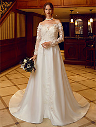 cheap -A-Line Off-the-shoulder Court Train Satin Tulle Wedding Dress with Appliques Flower(s) by LAN TING BRIDE®