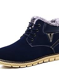 Men's Boots Comfort Snow Boots Fashion Boots Light Soles PU Fall Winter Casual Outdoor Lace-up Flat Heel Dark Brown Dark Blue Flat