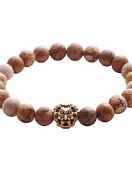cheap -Lureme Lava Rock Stone Matte Black Agate Mens Gemstone Beads Elastic Bracelet with Lion Head
