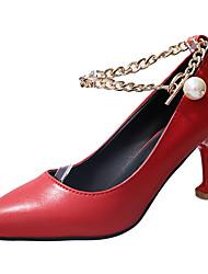 cheap -Women's Heels Comfort Light Soles PU Summer Dress Comfort Light Soles Chain Kitten Heel Ruby Black White 1in-1 3/4in
