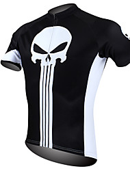 cheap -ILPALADINO Men's Short Sleeve Cycling Jersey - Black / White Skull Bike Jersey, Quick Dry, Ultraviolet Resistant, Breathable