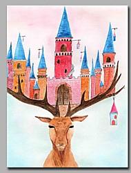 Недорогие -замок и лося украшение стен ручной работы современные картины маслом современное произведение искусства стены