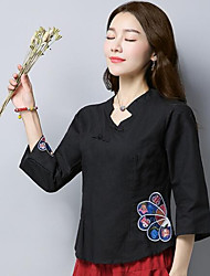 cheap -Women's Daily Casual Chinoiserie Spring Shirt,Embroidery Stand 3/4 Length Sleeves Linen Medium