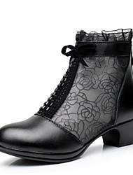 Недорогие -Для женщин Обувь Полиуретан Дерматин Зима Лето Удобная обувь Ботинки На толстом каблуке Закрытый мыс для Повседневные Черный