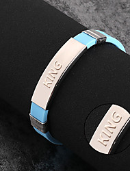 cheap -Titanium bracelet can be customized Korean lettering Silicone Bracelet Stainless steel jewelry fashion trendsetter