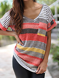 cheap -Women's Going out Casual T-shirt,Color Block V Neck Short Sleeves Polyester