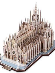 abordables -Puzzles 3D Puzzle Maquette en Papier Bâtiment Célèbre Eglise Architecture 3D Bois Naturel Unisexe Cadeau
