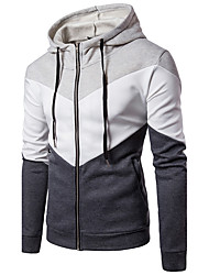 Men's Going out Casual/Daily Simple Hoodie Color Block Hooded Inelastic Cotton Long Sleeve Fall Winter