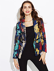 cheap -Women's Casual/Daily Vintage Street chic Spring Fall Blazer,Camouflage Shirt Collar Long Sleeve Short Polyester
