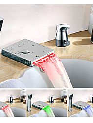 cheap -Color Changing Widespread Waterfall Multi-shade Single Handle Three Holes Bathroom Sink Faucet