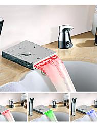 abordables -Changement de couleur Diffusion large Jet pluie Multi-teintes Mitigeur Trois trous Robinet lavabo
