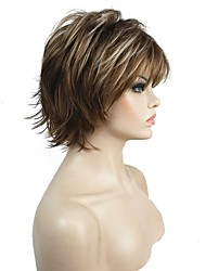 cheap -Short Layered Shaggy Brown Highlights Full Synthetic Wigs Women's Wig