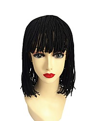 cheap -10inch 12inch bob box braids wig with bang Micro Braided Wig for Black Women Short Synthtic Box Braid Wig with Bangs synthetic braiding hair wigs