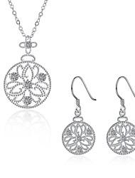 abordables -Femme Boucles d'oreille goutte Pendentif de collier Collier Zircon Zircon cubique Cristal Zircon Strass Plaqué argent Forme Géométrique