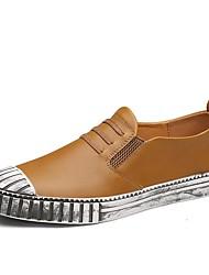 cheap -Men's Cowhide Summer / Fall Comfort Loafers & Slip-Ons Walking Shoes Black / Dark Blue / Light Brown