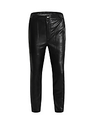 cheap -Men's Plus Size High Rise Micro-elastic Straight Chinos Pants, Casual Solid PU Winter