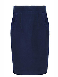 Women's Work Casual/Daily Knee-length Skirts,Street chic Pencil Solid All Seasons