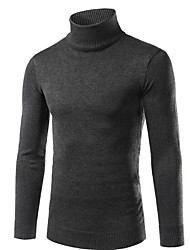 cheap -Men's Weekend Street chic Long Sleeves Slim Pullover - Solid Colored Turtleneck