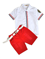 cheap -Boys' Stripe Clothing Set,Cotton Summer White Red