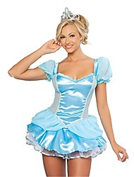 cheap -Princess Fairytale Cosplay Cosplay Costumes Masquerade Female Halloween Carnival Festival / Holiday Halloween Costumes Sky Blue Vintage