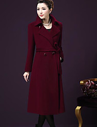 Women's Casual/Daily Simple Winter Coat,Solid Shawl Lapel Long Sleeve Maxi Polyester Others