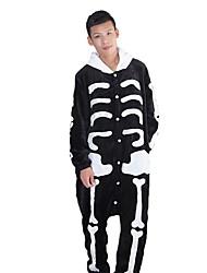 abordables -Pyjama Kigurumi  Squelette Fantôme Combinaison Pyjamas Costume Flanelle Noir blanc Cosplay Pour Adulte Pyjamas Animale Dessin animé