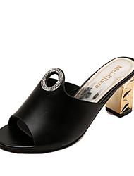 Women's Sandals Comfort PU Spring Summer Casual Dress Beading Chunky Heel Block Heel White Black 2in-2 3/4in