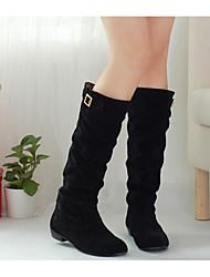 Women's Shoes Fabric Fall Winter Comfort Boots For Casual Black Brown Light Brown