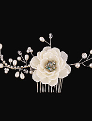 Imitation Pearl Rhinestone Fabric Alloy Hair Combs Flowers Headpiece