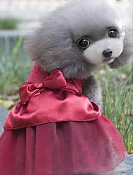 baratos -Gato Cachorro Vestidos Roupas para Cães Cristal/ Strass Azul Escuro Vermelho Algodão Ocasiões Especiais Para animais de estimação Festa