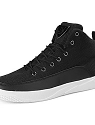 Men's Sneakers Comfort Linen Fall Winter Athletic Casual Outdoor Lace-up Flat Heel Khaki Black White Flat