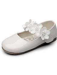 cheap -Girls' Flats Comfort Flower Girl Shoes Light Soles Leatherette Spring Fall Wedding Casual Party & Evening Dress Applique Magic Tape Flower