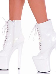 cheap -Women's Shoes PU Winter Fashion Boots Boots Stiletto Heel Round Toe Booties/Ankle Boots Zipper Lace-up for Party & Evening White Black