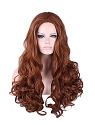 Natural Synthetic Wig Long Brown Curly Wig for Women Costume Wigs Cosplay Capless Wig