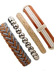 billige -Herre Dame Wrap Armbånd - Læder Personaliseret Armbånd Beige Til Gade I-byen-tøj