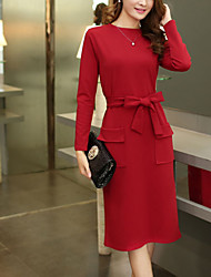 Women's Plus Size Casual/Daily Simple Street chic Sheath Dress Solid Round Neck Midi Long Sleeves Polyester Spring FallHigh